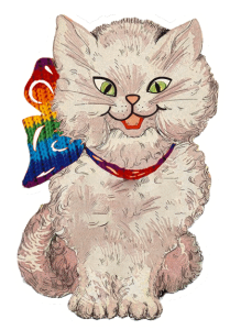 Drawing of Mr. Kisses wearing a rainbow bow for Pride.